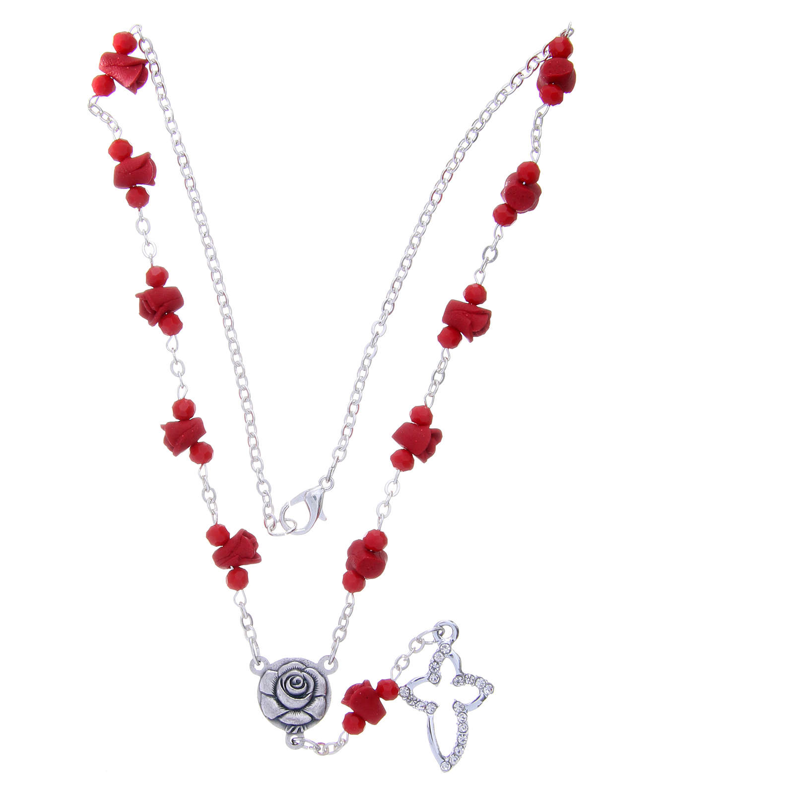 Medjugorje Rosary necklace, red with ceramic roses and grains in crystal 4