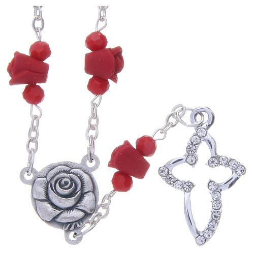 Medjugorje Rosary necklace, red with ceramic roses and grains in crystal 1