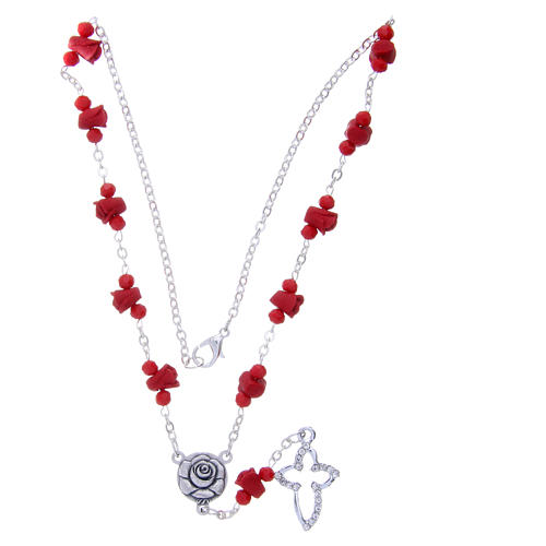 Medjugorje Rosary necklace, red with ceramic roses and grains in crystal 3