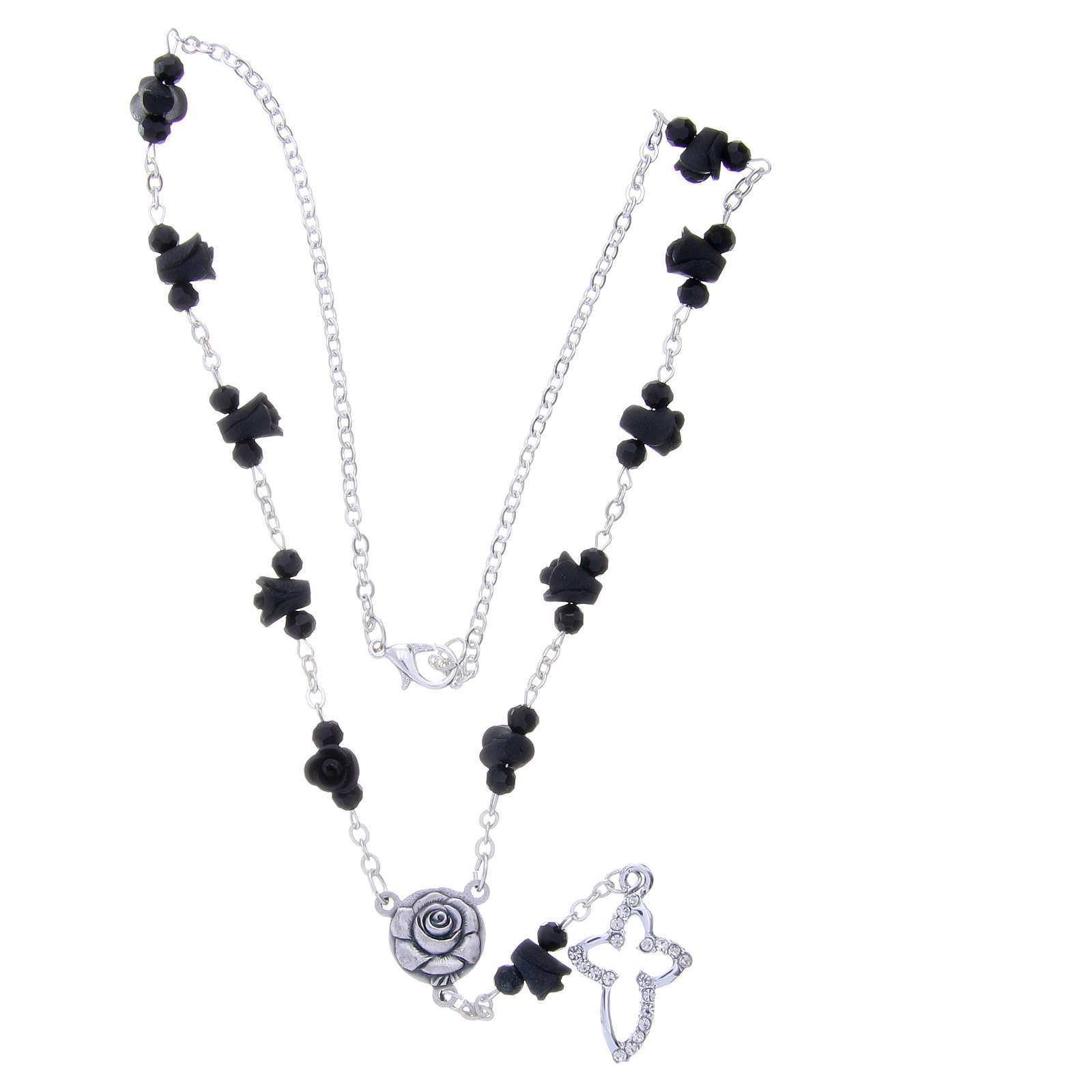 Collier chapelet Medjugorje roses noires céramique grains cristal 4