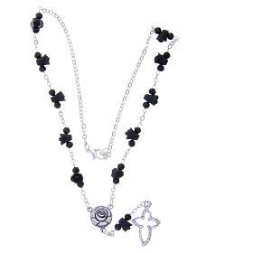 Collier chapelet Medjugorje roses noires céramique grains cristal s3