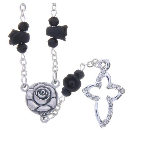 Collier chapelet Medjugorje roses noires céramique grains cristal 1