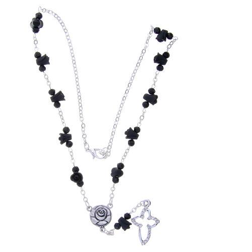Collier chapelet Medjugorje roses noires céramique grains cristal 3