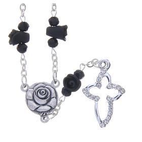 Collana rosario Medjugorje rose nere ceramica grani cristallo