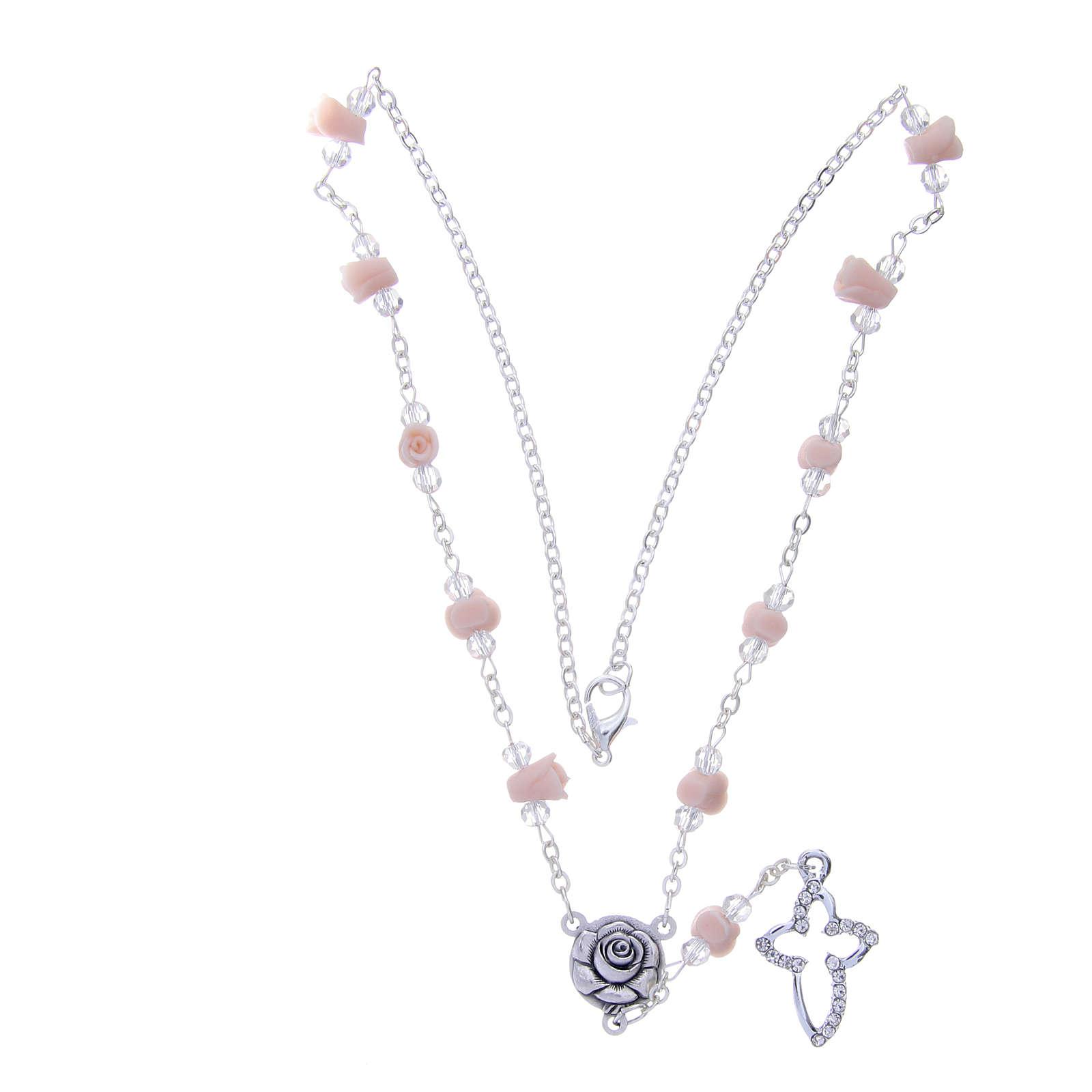 Collar rosario Medjugorje cuentas cristal rosas cerámica 4