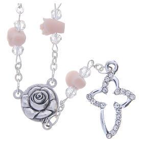 Collar rosario Medjugorje cuentas cristal rosas cerámica s1