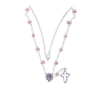 Collier chapelet Medjugorje grains véritable cristal roses céramique s3