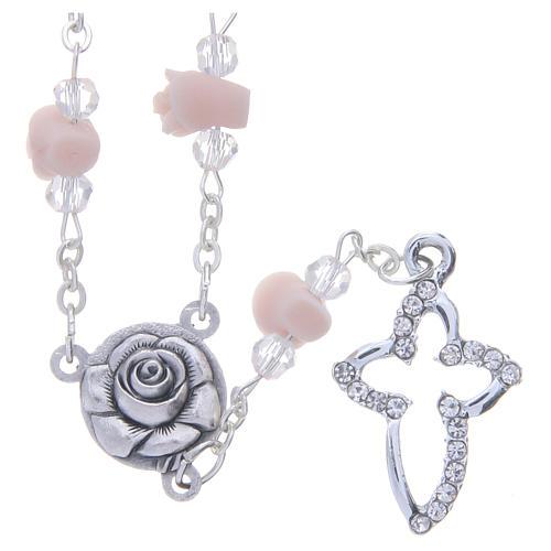 Collier chapelet Medjugorje grains véritable cristal roses céramique 1
