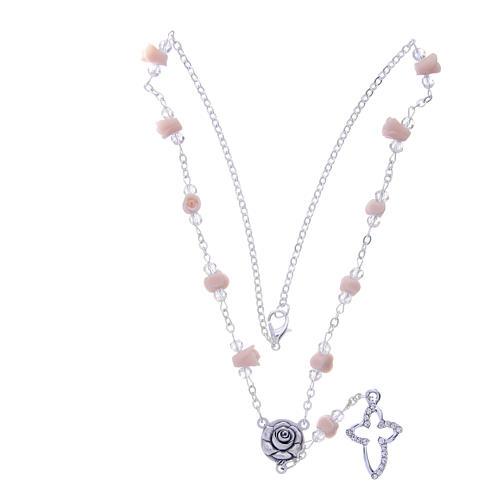Collier chapelet Medjugorje grains véritable cristal roses céramique 3