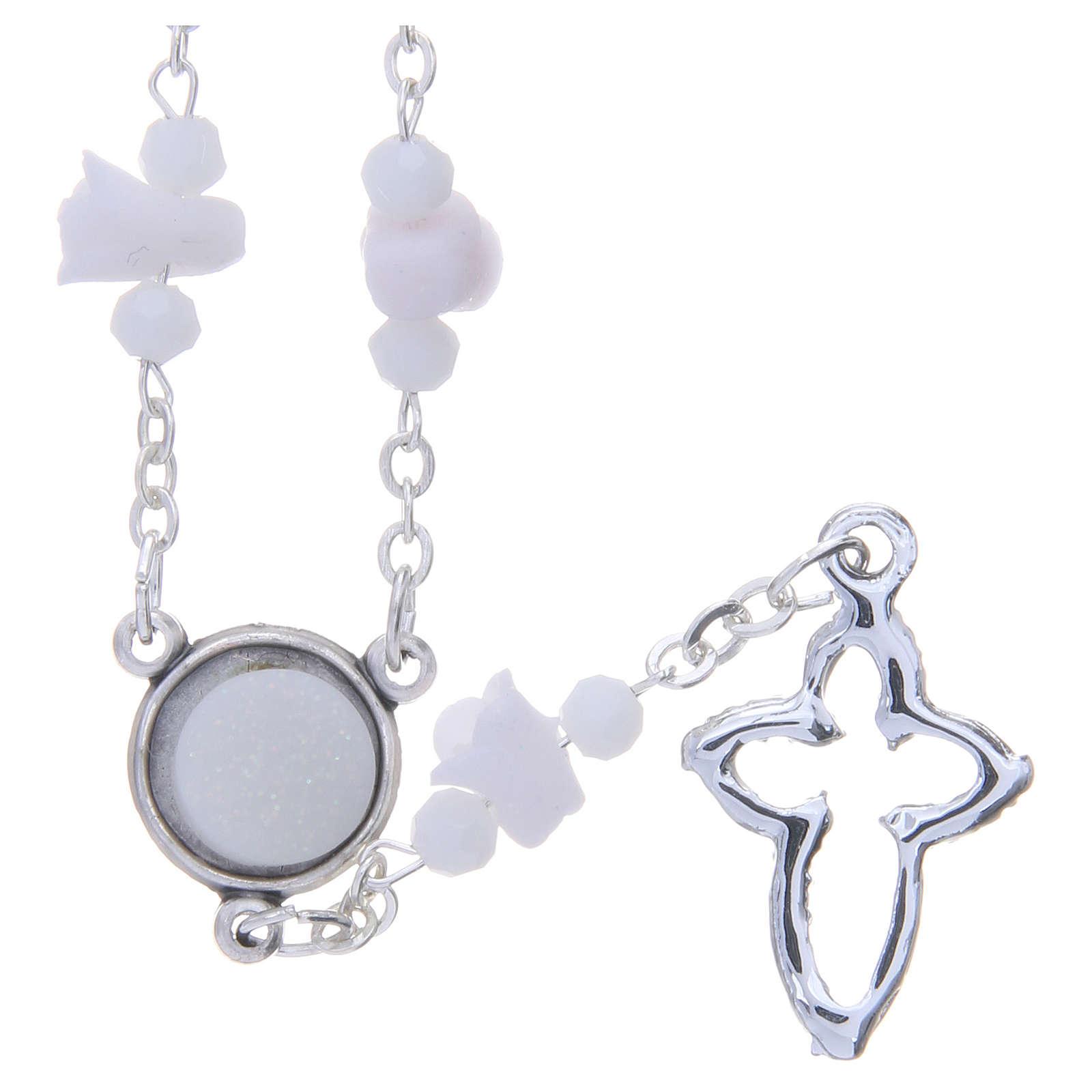 01aec5470339 Collar rosario Medjugorje blanco rosas y cuentas cristal 4