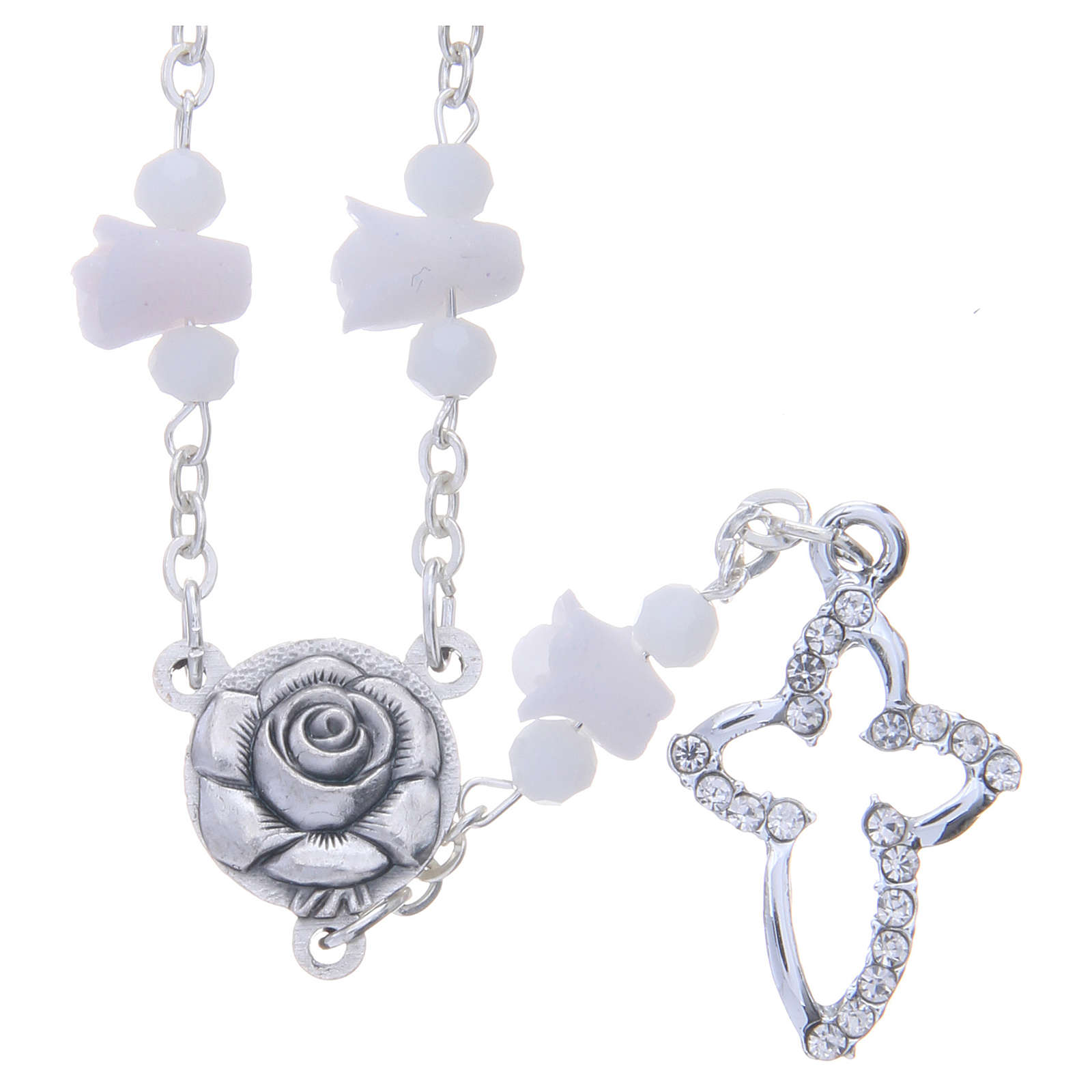 Collana rosario Medjugorje bianca con rose e grani cristallo 4
