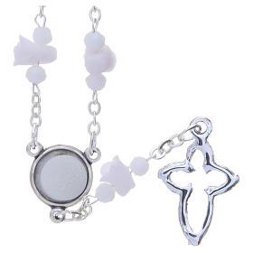Collana rosario Medjugorje bianca con rose e grani cristallo