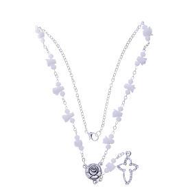 Collana rosario Medjugorje bianca con rose e grani cristallo s3
