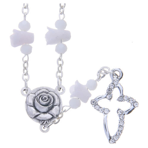 Collana rosario Medjugorje bianca con rose e grani cristallo 1