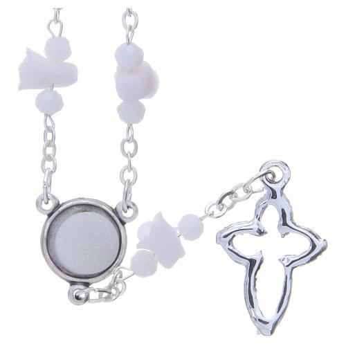 Collana rosario Medjugorje bianca con rose e grani cristallo 2