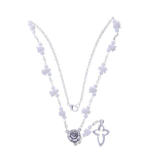 Collana rosario Medjugorje bianca con rose e grani cristallo 3
