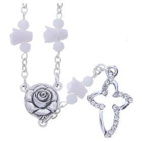 Terços e Porta Terços Nossa Senhora de Medjugorje: Colar terço Medjugorje branco com rosas e contas cristal