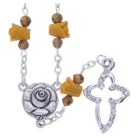 Chapelets et boîte chapelets: Collier chapelet Medjugorje couleur ambre roses céramique