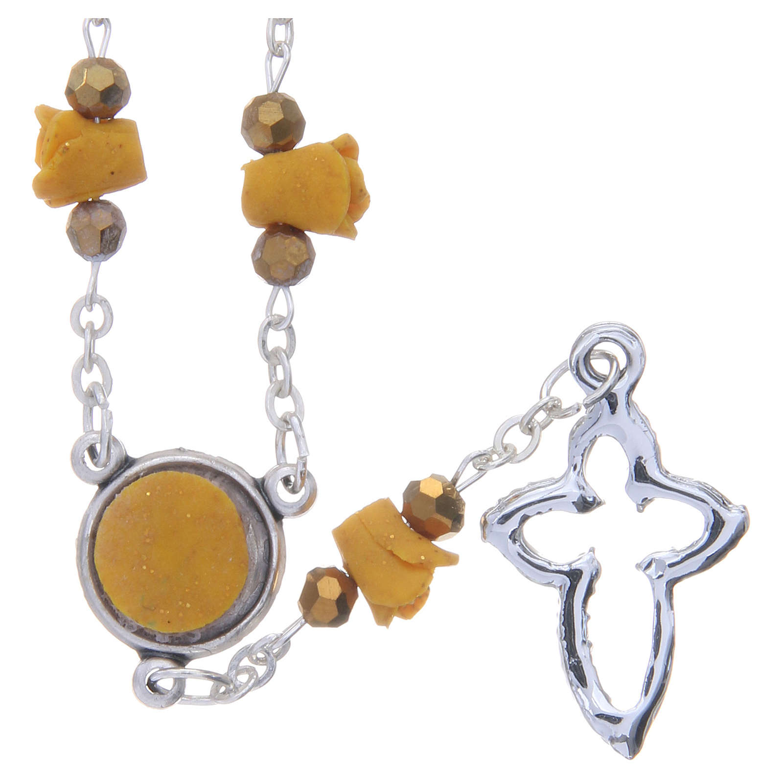 Collana rosario Medjugorje color ambra rose ceramica 4
