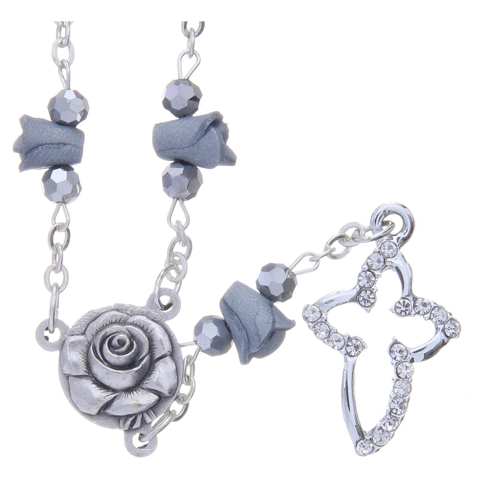 Collar rosario Medjugorje rosas cerámica gris cuentas cristal 4