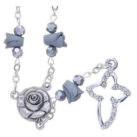 Collar rosario Medjugorje rosas cerámica gris cuentas cristal s1