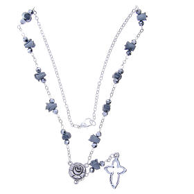 Collar rosario Medjugorje rosas cerámica gris cuentas cristal s3