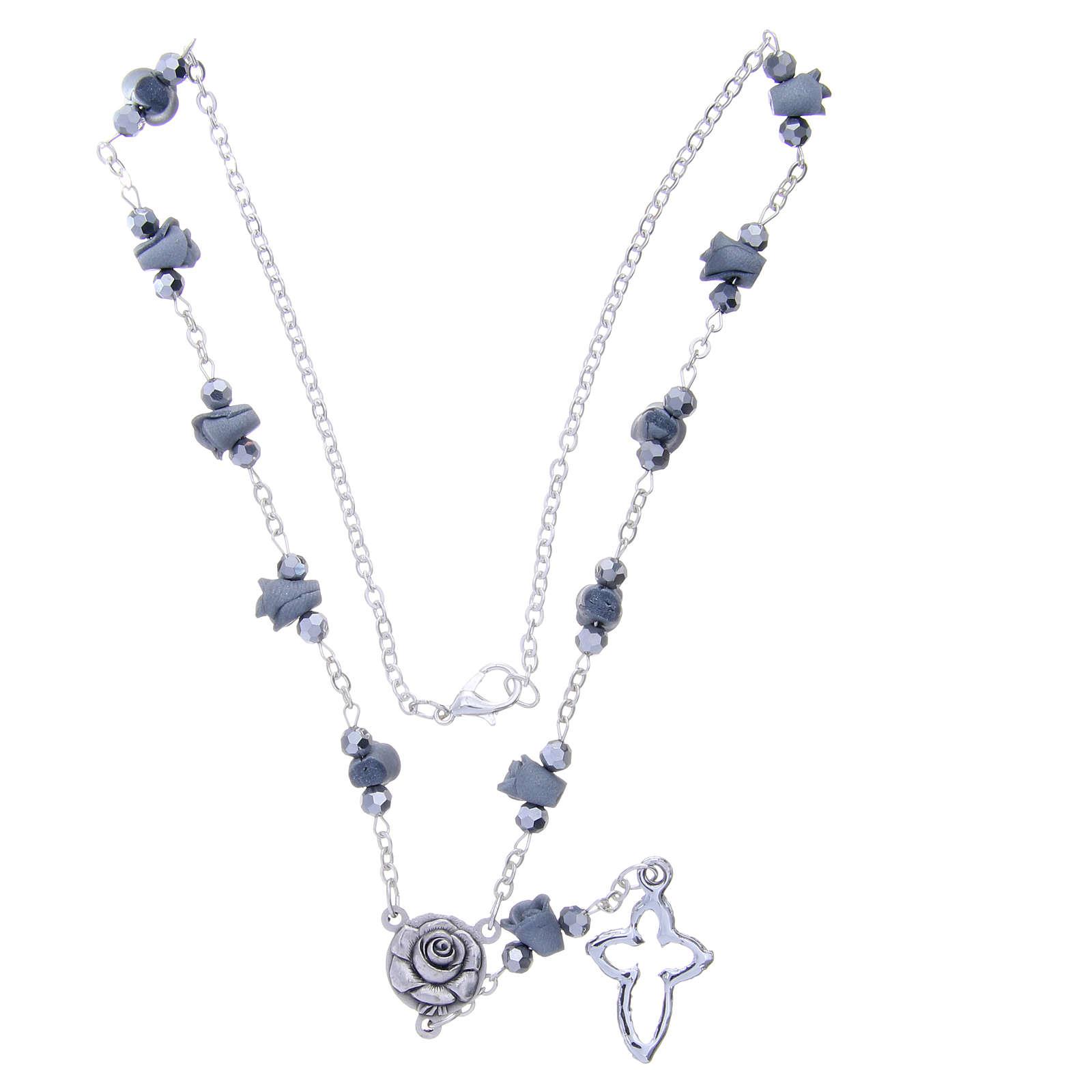 Collier chapelet Medjugorje roses céramique grises grains cristal 4