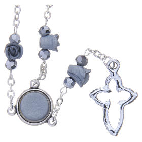 Collier chapelet Medjugorje roses céramique grises grains cristal s2