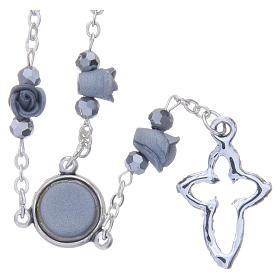 Collana rosario Medjugorje rose ceramica grigie grani cristallo