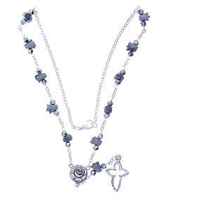 Collana rosario Medjugorje rose ceramica grigie grani cristallo s3