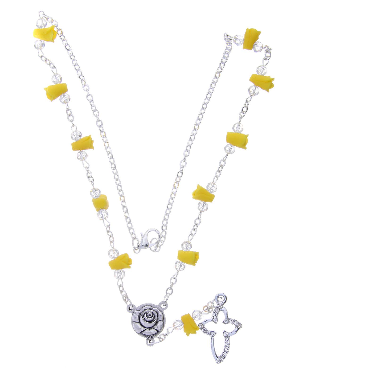 Collar rosario Medjugorje amarillo rosas cerámica cruz con cristales 4