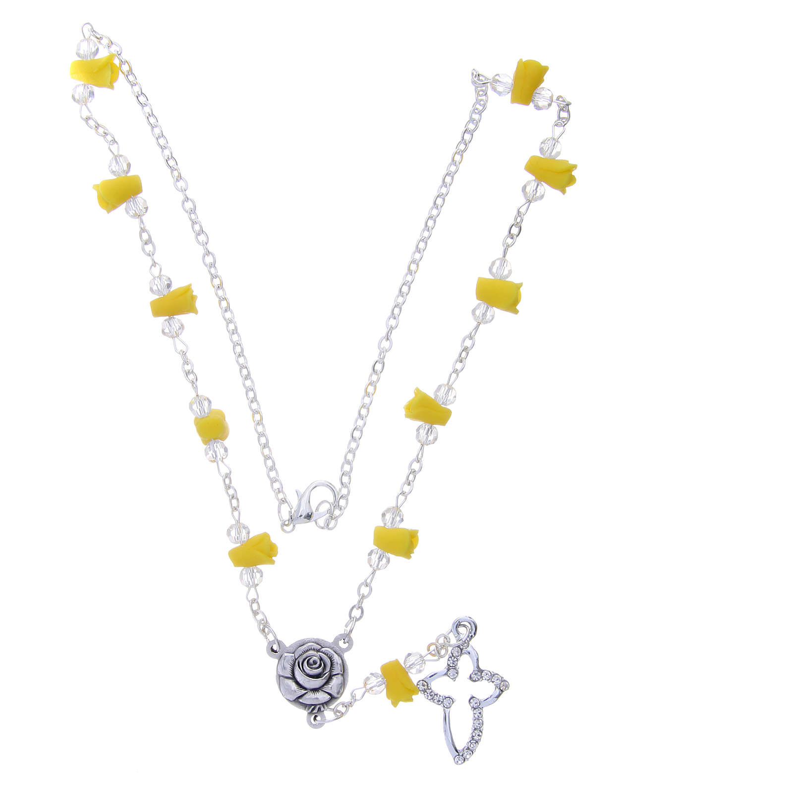 Collier chapelet Medjugorje jaune roses céramique croix avec cristaux 4