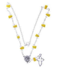 Collier chapelet Medjugorje jaune roses céramique croix avec cristaux s3