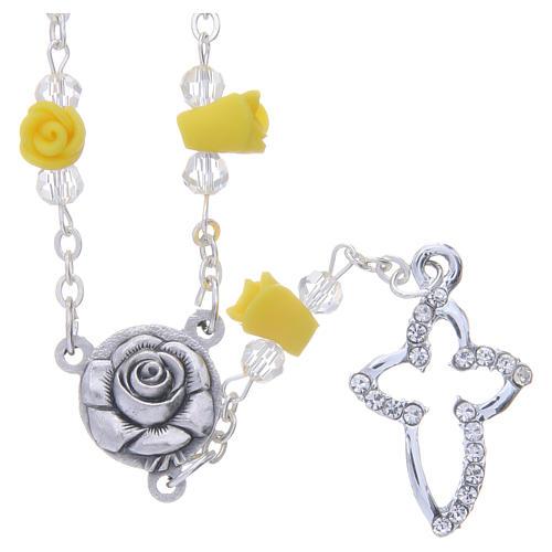 Collier chapelet Medjugorje jaune roses céramique croix avec cristaux 1