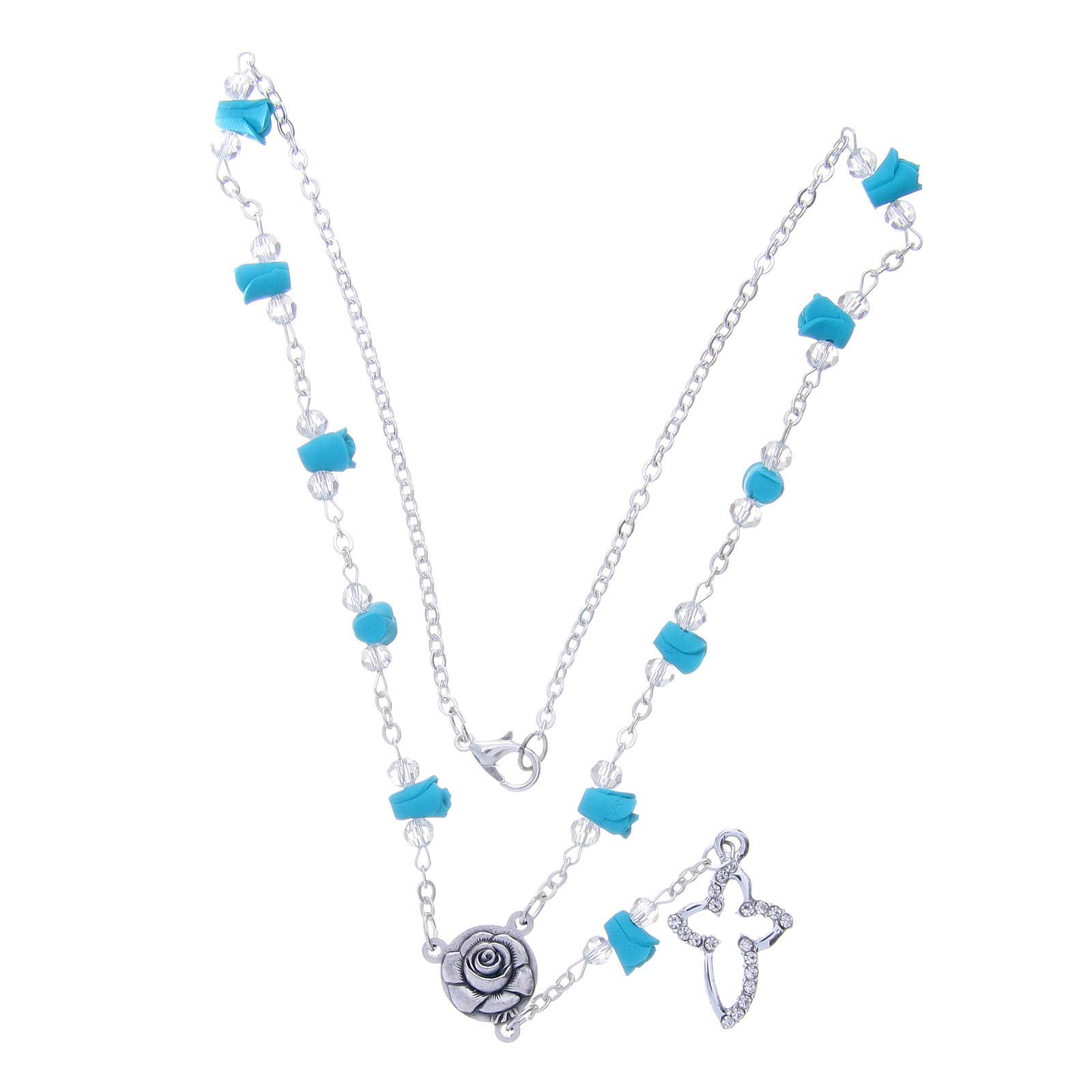 Collier chapelet Medjugorje roses turquoises céramique grains cristaux 4