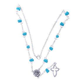 Collier chapelet Medjugorje roses turquoises céramique grains cristaux s3