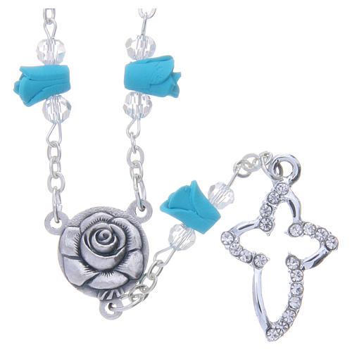 Collier chapelet Medjugorje roses turquoises céramique grains cristaux 1