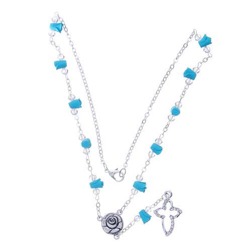 Collier chapelet Medjugorje roses turquoises céramique grains cristaux 3