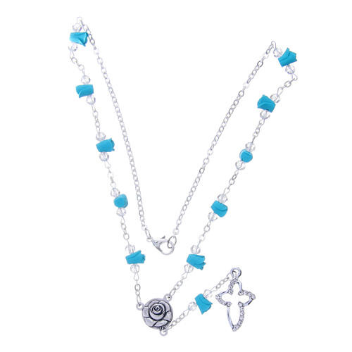 Collana rosario Medjugorje rose turchesi ceramica grani cristallo 3