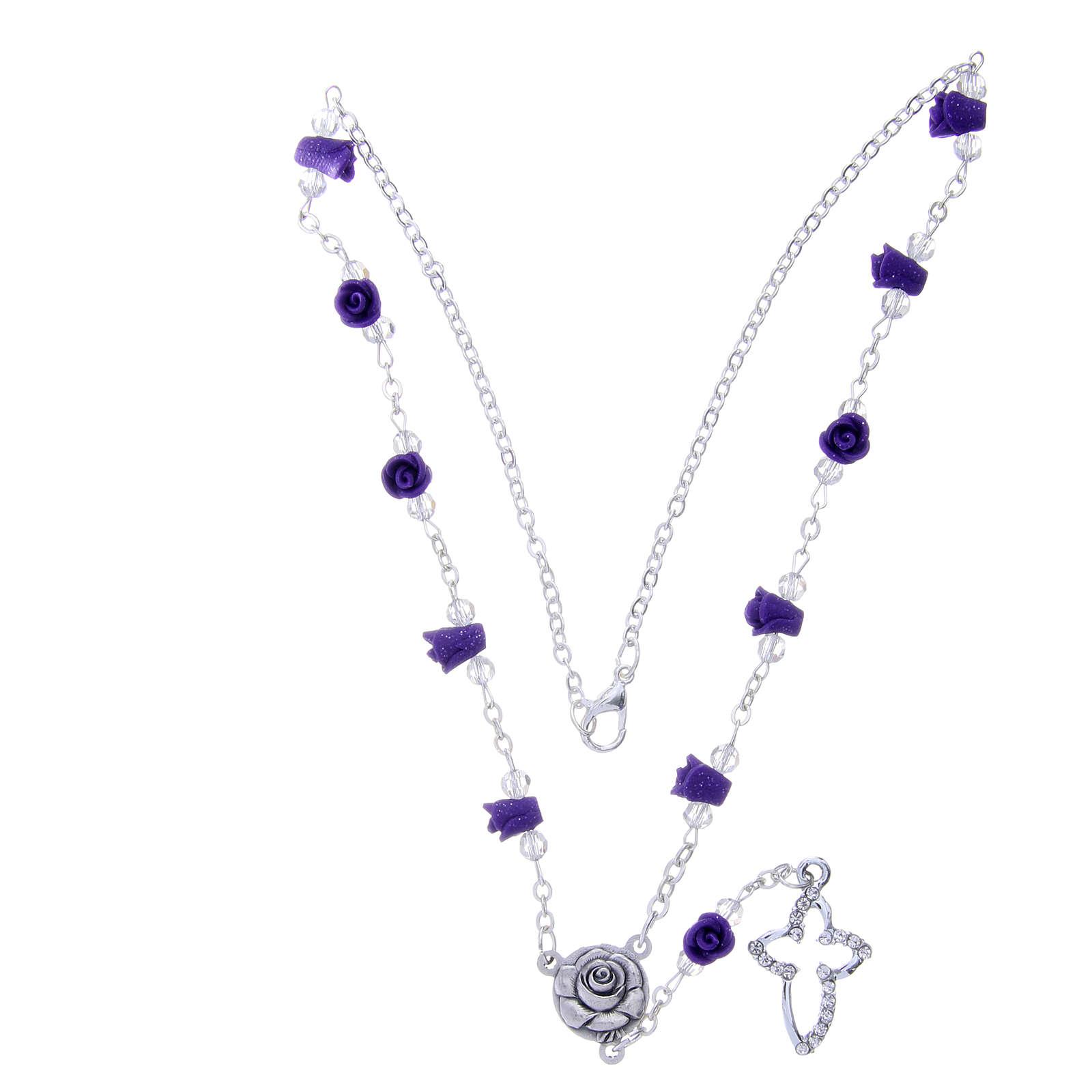 Collier chapelet Medjugorje roses céramique violet et grains 4