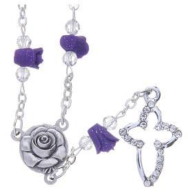 Collier chapelet Medjugorje roses céramique violet et grains s1