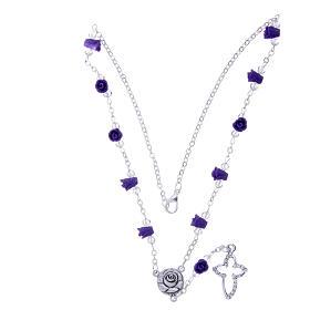 Collier chapelet Medjugorje roses céramique violet et grains s3