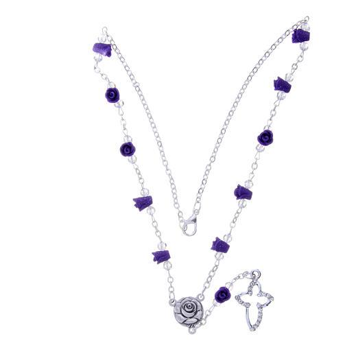 Collier chapelet Medjugorje roses céramique violet et grains 3
