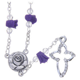 Collana rosario Medjugorje rose ceramica viola e grani s1
