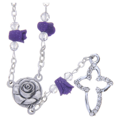 Collana rosario Medjugorje rose ceramica viola e grani 1