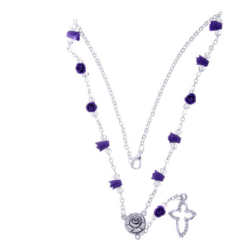 Collana rosario Medjugorje rose ceramica viola e grani 3