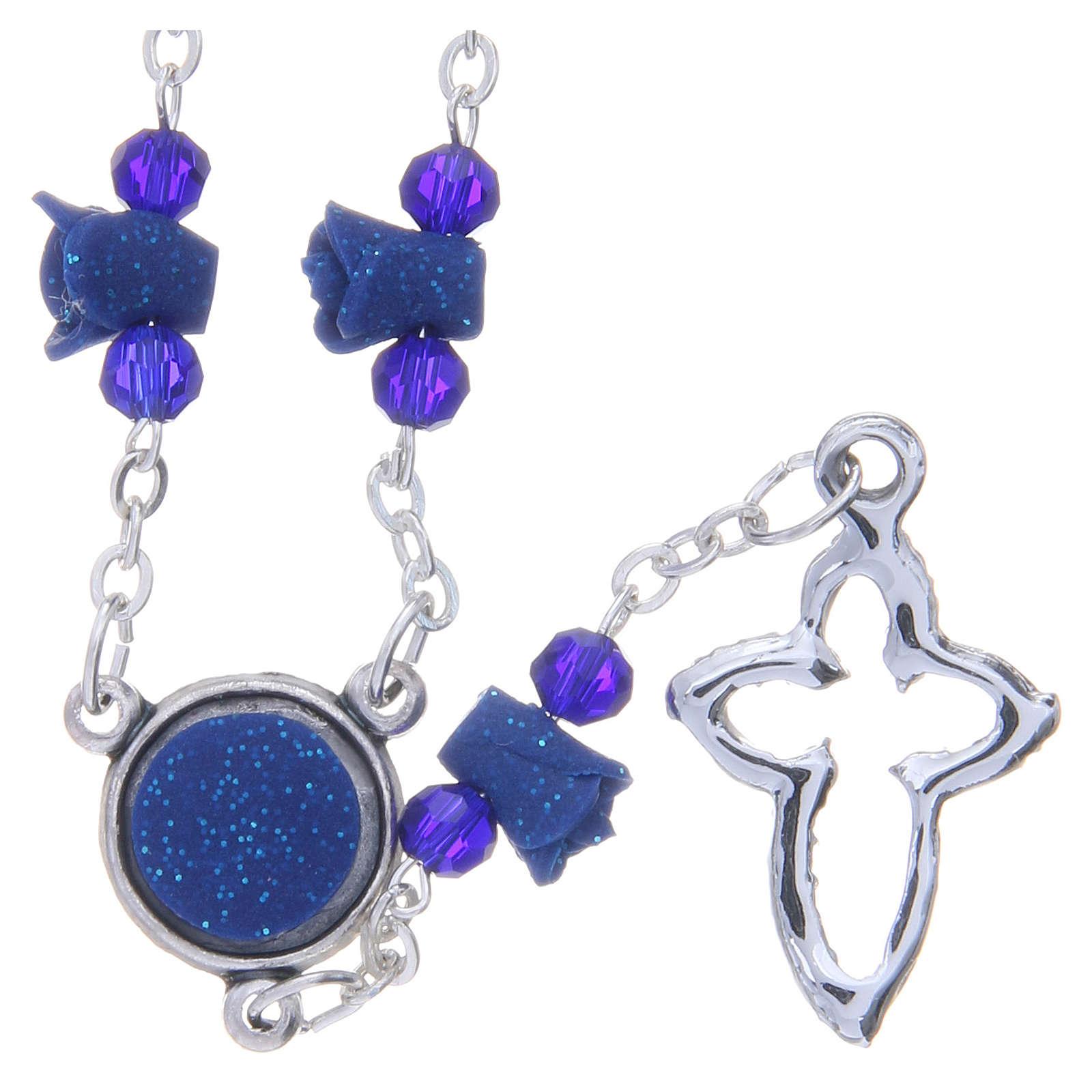 Collier chapelet Medjugorje bleu roses croix avec cristaux 4