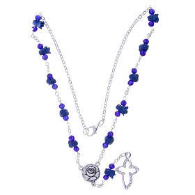 Collier chapelet Medjugorje bleu roses croix avec cristaux s3