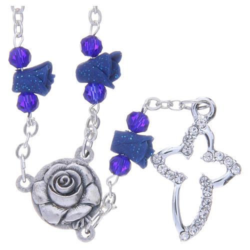 Collier chapelet Medjugorje bleu roses croix avec cristaux 1