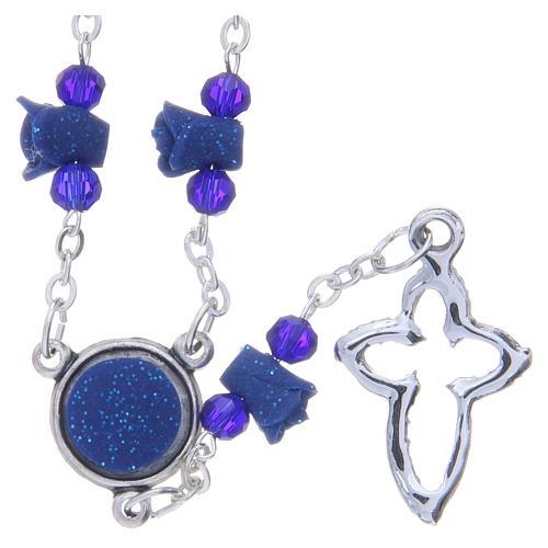 Collier chapelet Medjugorje bleu roses croix avec cristaux 2